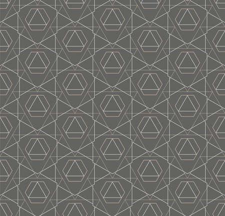 Continuous Black Vector Hex, Decor Pattern. Repeat Elegant Graphic Technology Swatch Texture. Seamless Wave Cell, Lattice Texture. Islamic Repeat Pattern Illusztráció