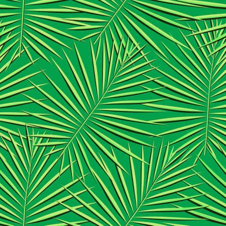 Eco Repeated Palm Vector Art. Green Seamless Hawaii Graphic Textile. Pattern, Bright Repeated Nature Vector Background. Tropical, Spring Seamless Pattern. Vector,