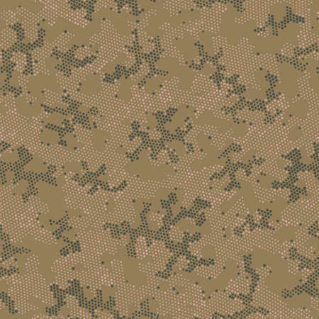Seamless Vector Patterd Design.  Repeated Graphic Beige Doted, Camo Pattern. Khaki Seamless Point Camouflage, Graphic Art. Green Seamless Artistic Camouflage, Vector Texture.