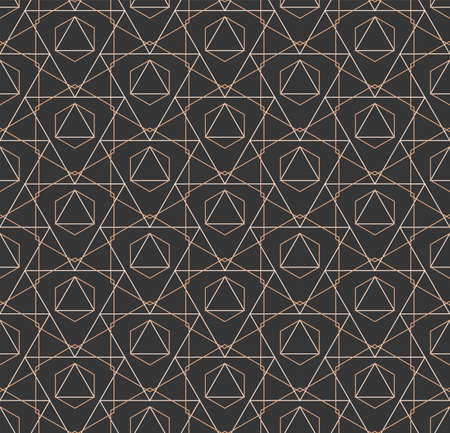 Repetitive East Graphic Technology, Shapes Texture. Continuous Wave Vector Golden Tile Pattern. Seamless Islamic Hex, Deco Pattern. Abstract Array Texture