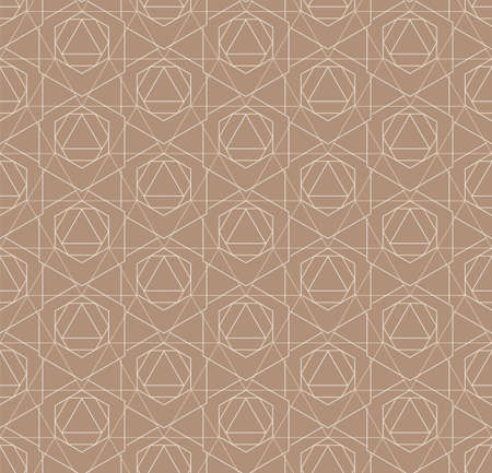 Seamless Vintage Graphic Rhombus, Print Pattern. Repetitive Linear Vector Poly Background Texture. Continuous Islamic Cell, Textile Pattern. Classic Grid Texture