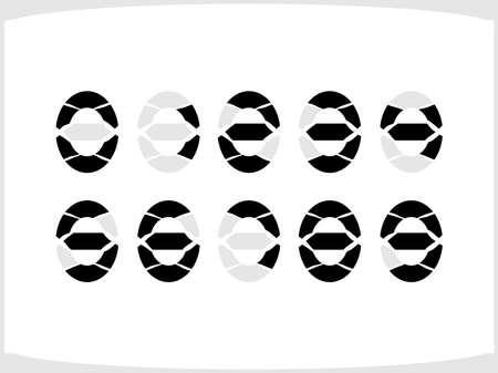 The symbols of the numbers inscribed in the oval electronic devices Ilustração