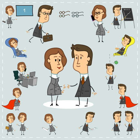 Set of office workers icons of men and women comics Illustration