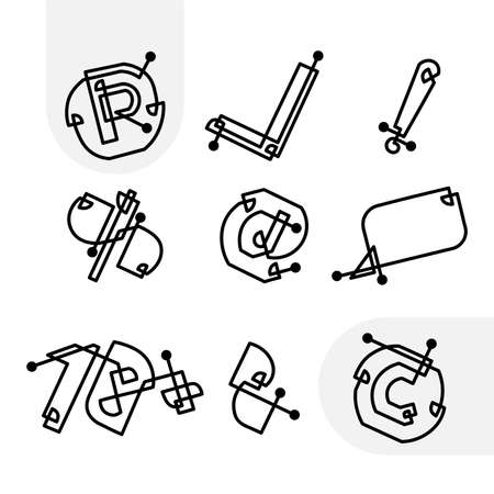 Set of information signs of the original type for notation Illustration