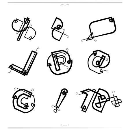 Set of information symbols of the original type of grapheme Illustration