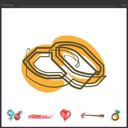 Wedding rings icon drawn in continuous line Vector illustration.