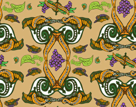 Background of ornamental natural wallpaper patterned with curls 向量圖像