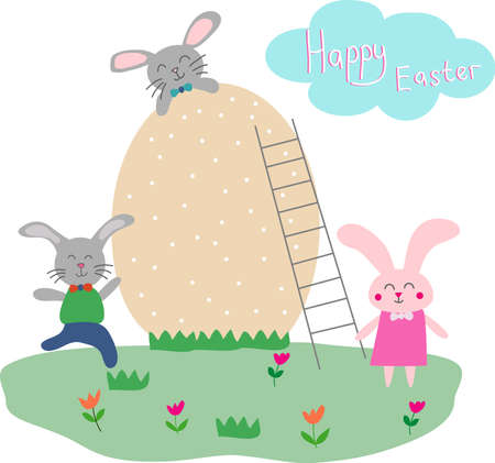 Happy easter scene with bunnies. Easter street event, festival and fair, design of banners, posters. Nice kind vector illustration