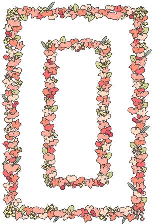ピンク色の植物フレーム