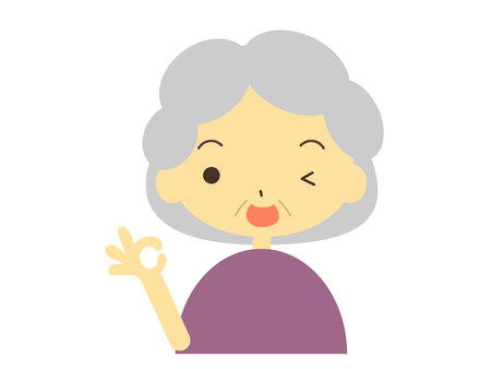 Illustration of the grandmother in the OK sign