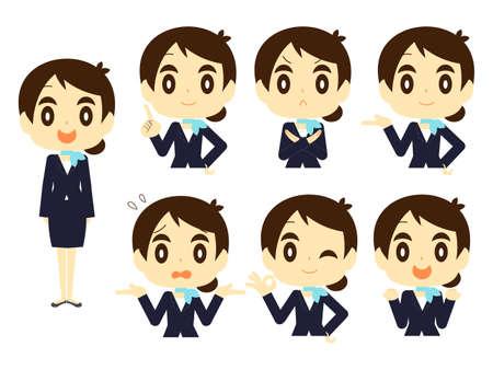 Flight attendant (CA  flight attendant  stewardess  flight attendant) posset Ilustração