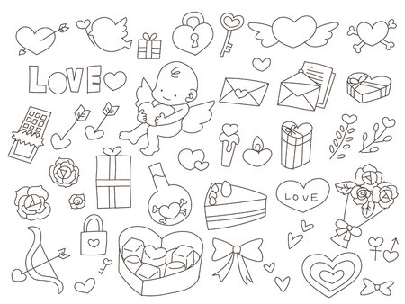 Valentines day motif assorted drawings Illustration