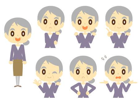 Older women face set Illustration