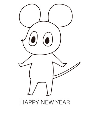 New Years card with cute mouse