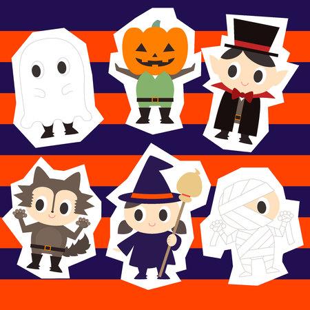 illustration of cute costume of Halloween 일러스트