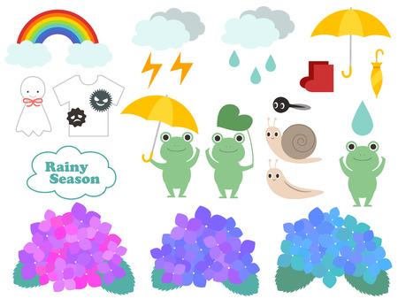 Cute rainy season illustration set Stock Vector - 121740194