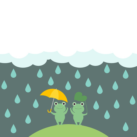 Illustration frame of cute  frogs