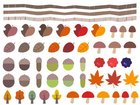 Cute autumn nature illustration set