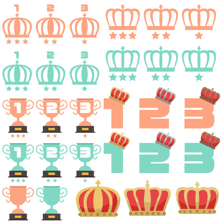 Men and Women Ranking Crown Trophy illustrations