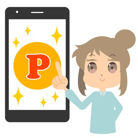 Illustration of a woman who earns points on a smartphone