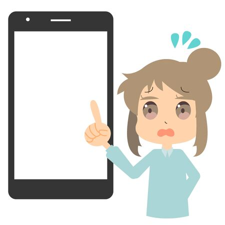 Illustration of a woman in trouble with a smartphone Illustration