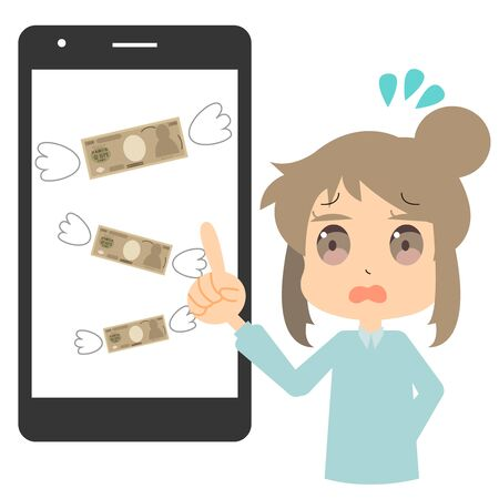 Illustration of a woman who has spent too much money on a smartphone