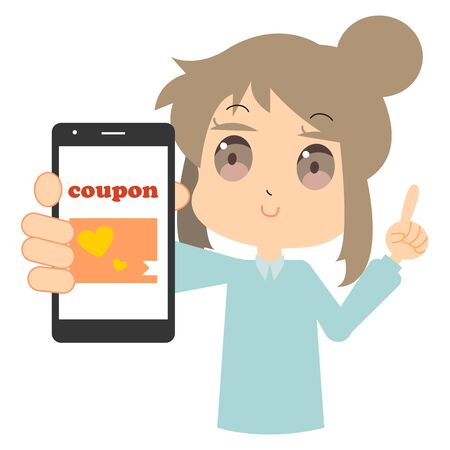 Illustration of a woman showing a web coupon