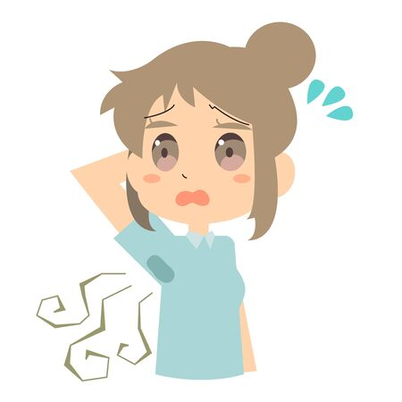 Illustration of a woman who is anxious about sweat stains on her brow