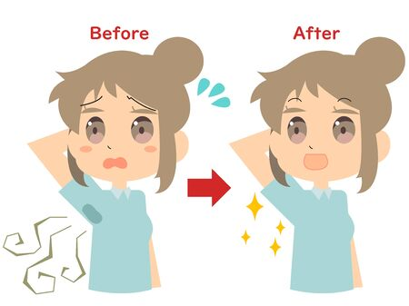 Illustration of a woman whose sweat stain has improved