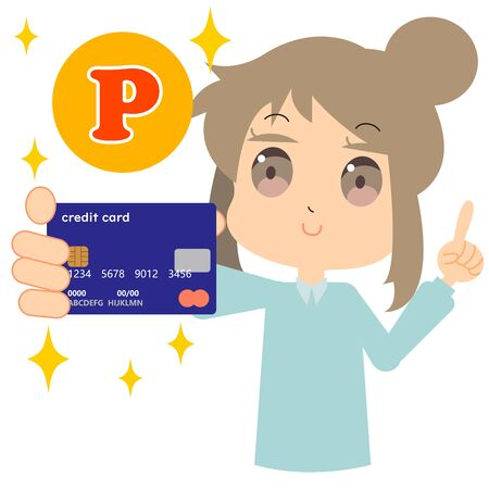 Illustration of a woman trying points with a credit card