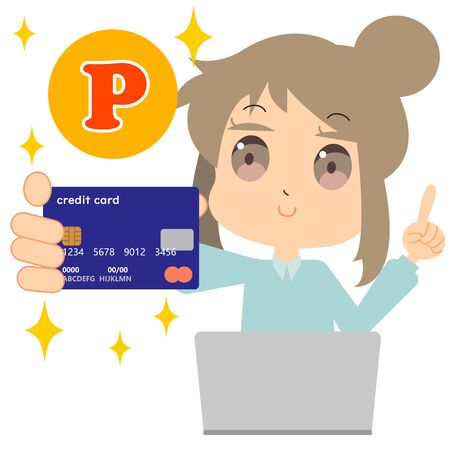 An illustration of a woman who stores credit card points online