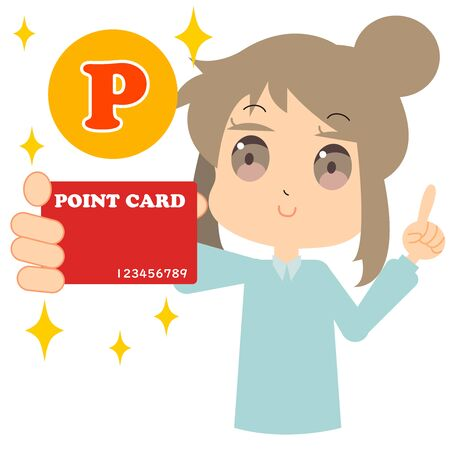 Illustration of a woman who saves points with point cards