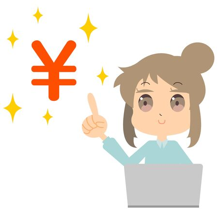 Illustration of a woman holding a household account book with a laptop  イラスト・ベクター素材