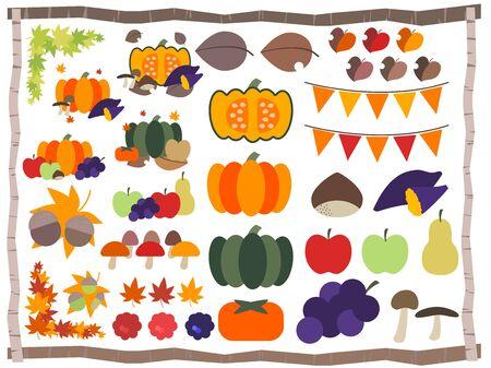 Illustration of autumn, vegetables and fruits Illustration