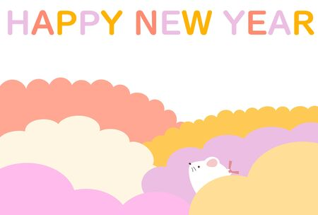 New Years card illustration of a cute rat Stock Illustratie