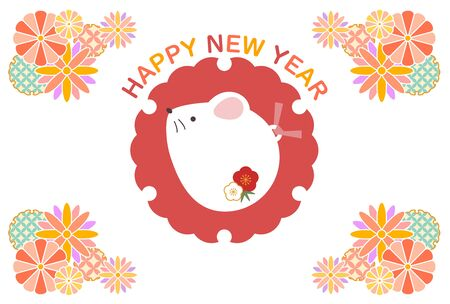New Years card illustration of colorful Mouse Stock Illustratie