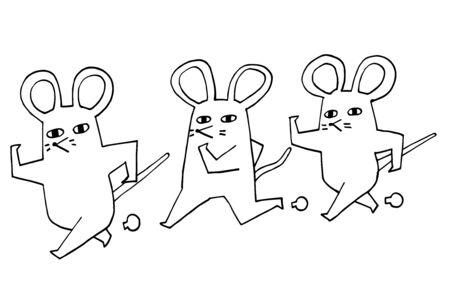 Ilustración de tarjeta de año nuevo de una rata simple y surrealista.