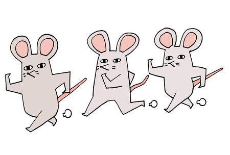 New years card illustration of a simple and surreal rat Stock Illustratie
