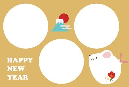 Cute rat photo frame new year card illustration (3 frames)