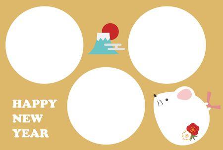 Cute rat photo frame new year card illustration (3 frames)