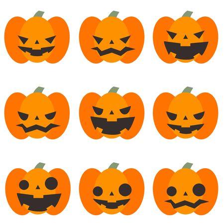 Halloween cute pumpkin illustration set