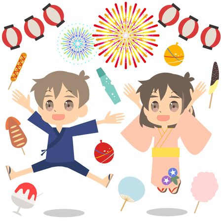 Illustration of a cute brother and sister and summer festival