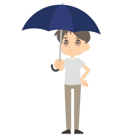 Illustration of a man holding a parasol
