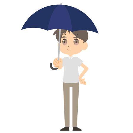 Illustration of a man holding a parasol