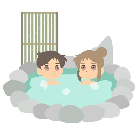 Illustration of a couple doing a hot spring date