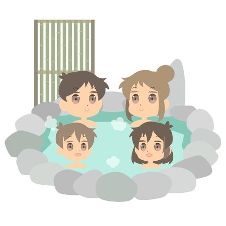 Illustration that hot spring enters in family