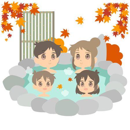 Illustration of autumn hot spring family trip