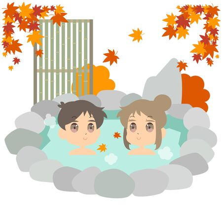 Illustration immersed in autumn hot spring by a couple Иллюстрация