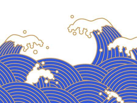 Illustration of blue sea waves in Japan