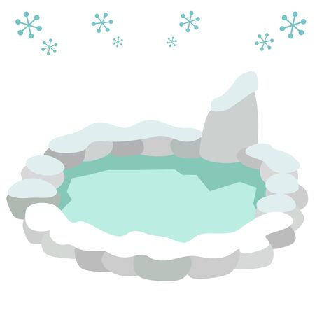 Illustration of winter hot spring  イラスト・ベクター素材